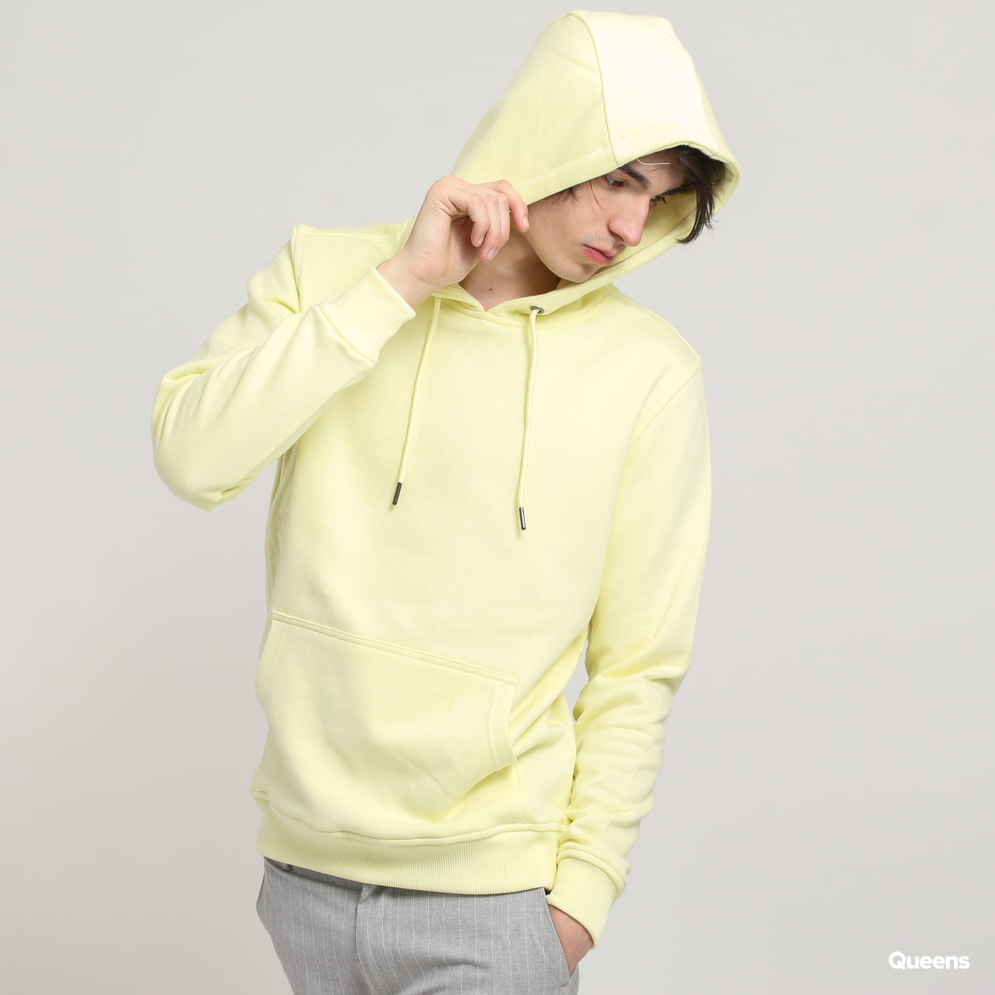 Urban Classics Basic Sweat Hoody svetložltá