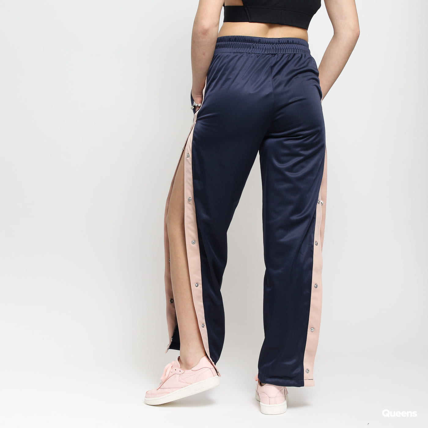 Urban Classics Ladies Button Up Track Pants navy / hellrosa