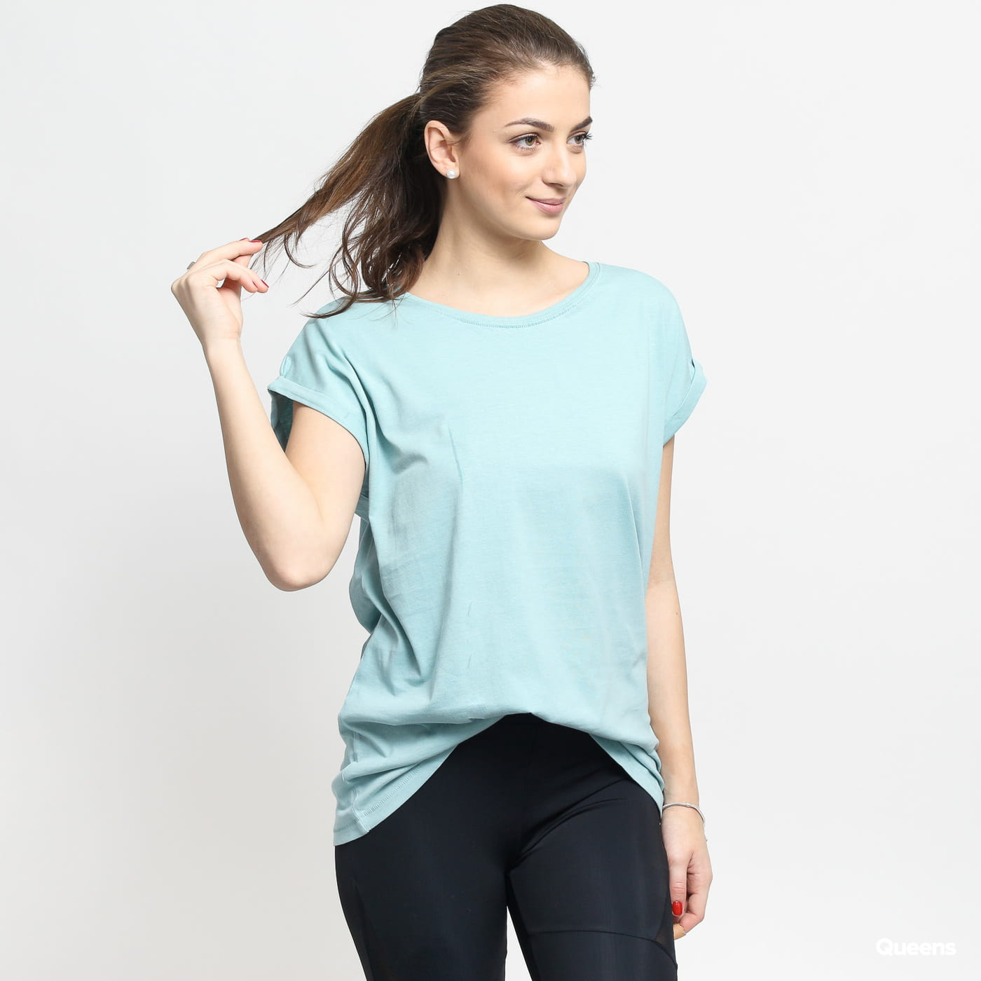 Urban Classics Ladies Extended Shoulder Tee turquoise