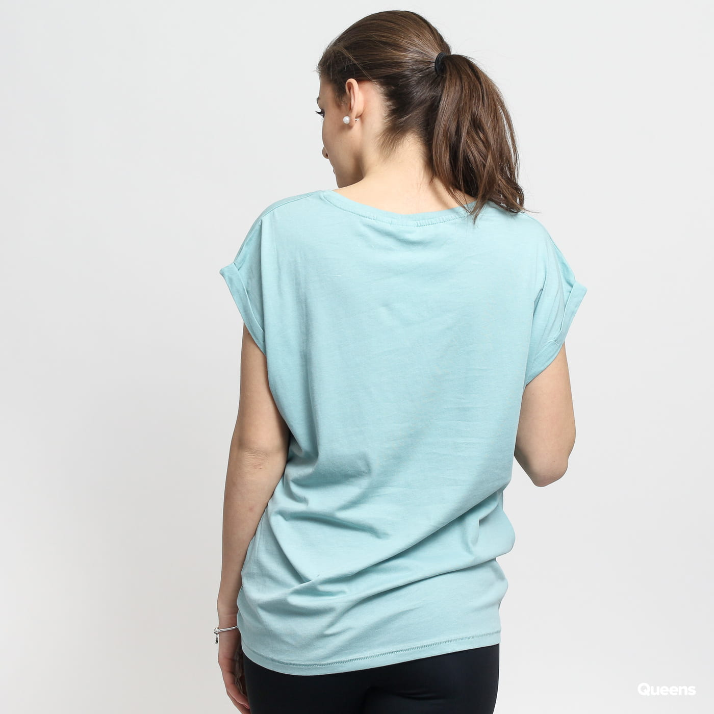 Urban Classics Ladies Extended Shoulder Tee tyrkysové