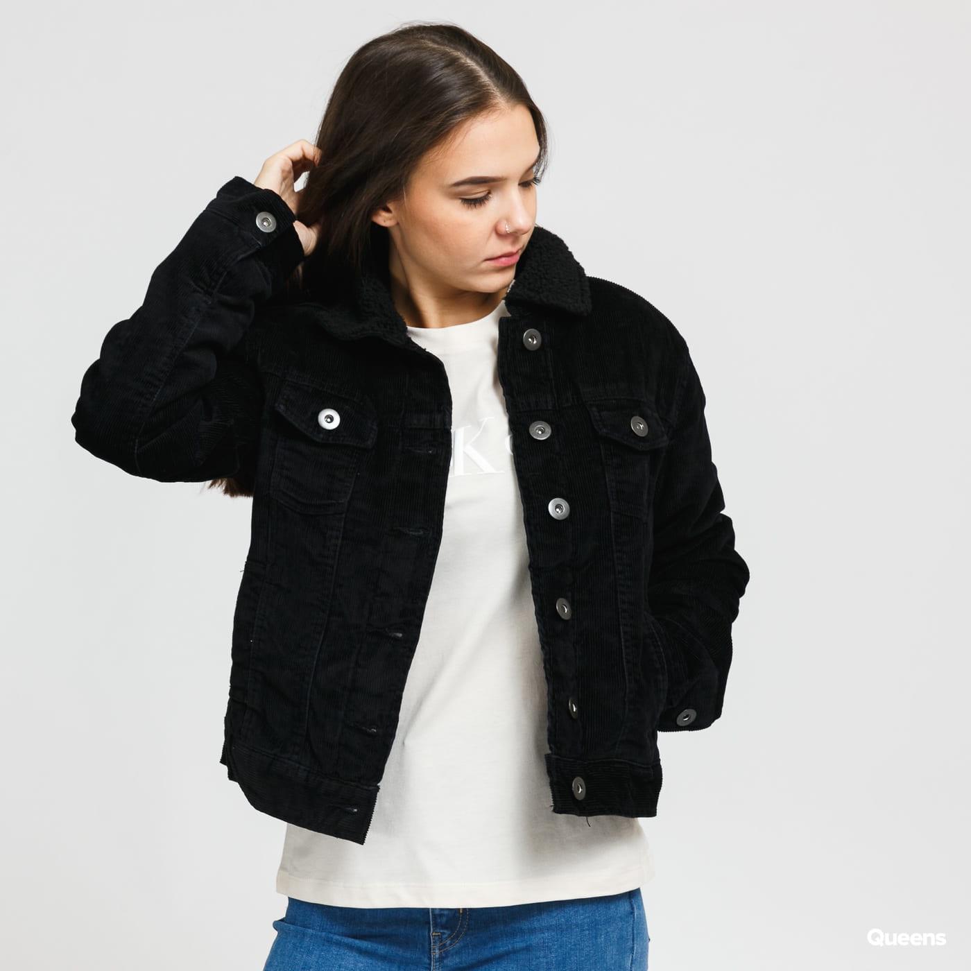 Urban Classics Ladies Sherpa Corduroy Jacket čierna