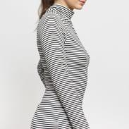 Urban Classics Ladies Striped Turtleneck Dress bílé / černé