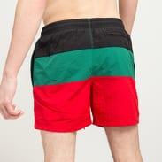 Urban Classics Color Block Swimshorts černé / zelené / červené
