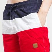 Urban Classics Color Block Swimshorts navy / bílé / červené