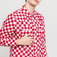 Stüssy Checker Western LS Shirt červená / bílá