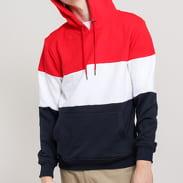 Urban Classics 3-Tone Hoody červená / bílá / navy