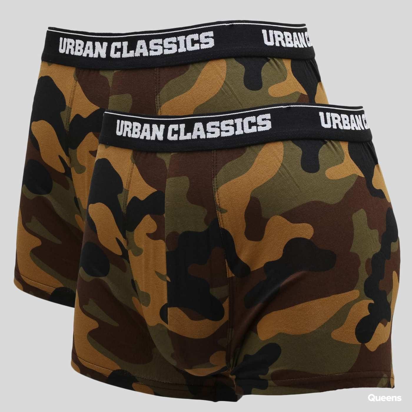 Urban Classics 2-Pack Camo Boxer Shorts camo zelené