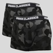Urban Classics 2-Pack Camo Boxer Shorts camo šedé / čierne