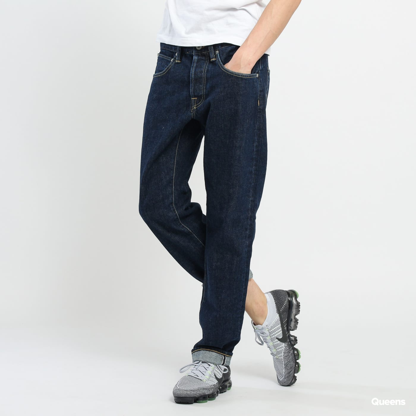 EDWIN ED-55 Regular Tapered Jeans Red Listed Selvage Denim - Dark Stone Dot