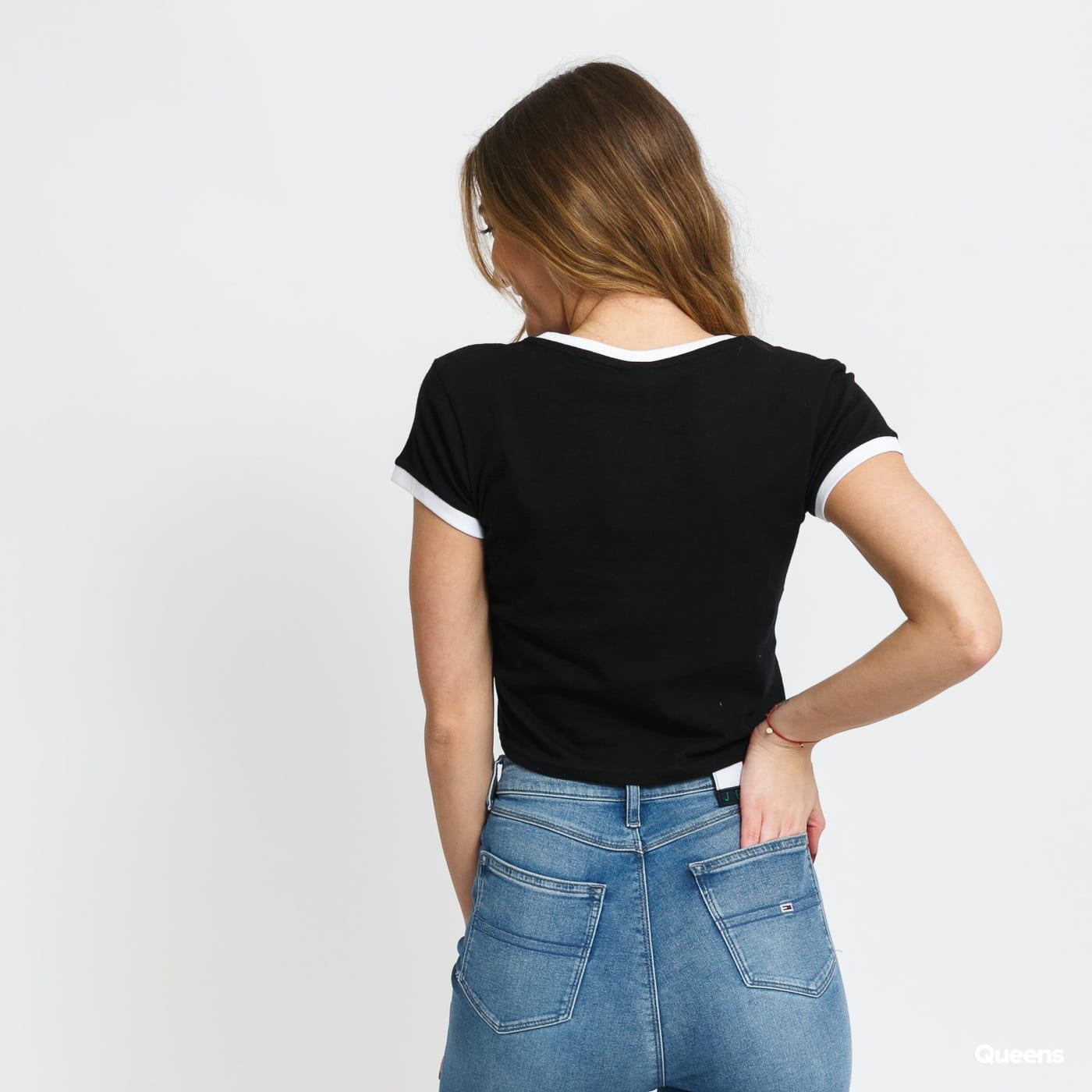 Urban Classics Ladies Cropped Ringer Tee schwarz / weiß
