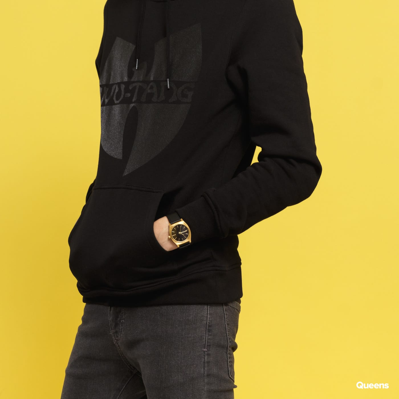 WU WEAR Black Logo Hoody čierna