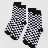 Urban Classics Checker Socks 2-Pack černé / bílé