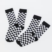 Urban Classics Checker Socks 2-Pack čierne / biele