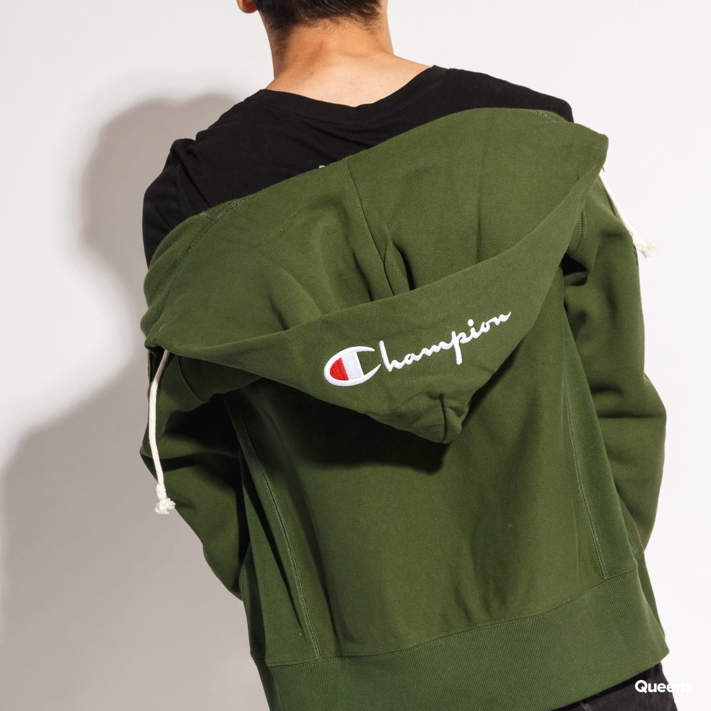 Champion Script Logo Full Zip Hoody dunkelgrün
