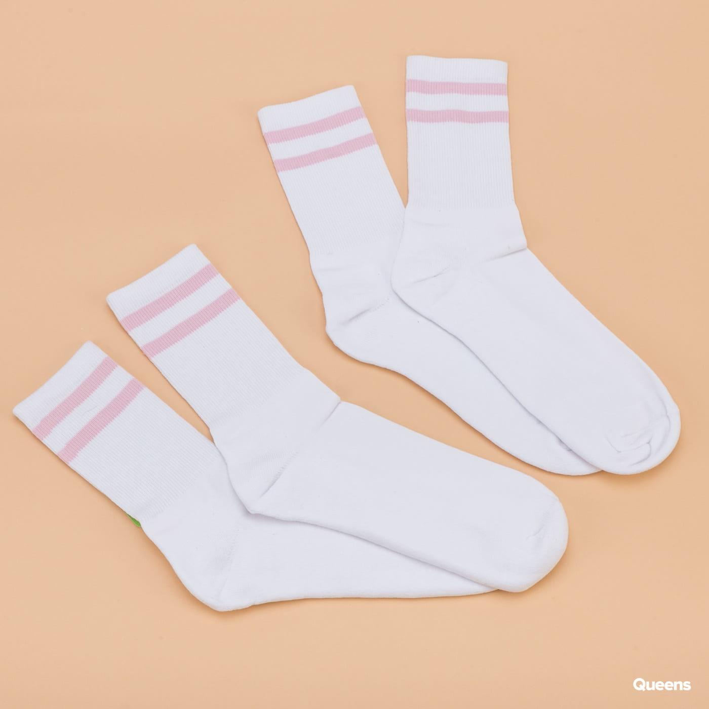 Urban Classics 2-Stripe Socks 2-Pack white / pink