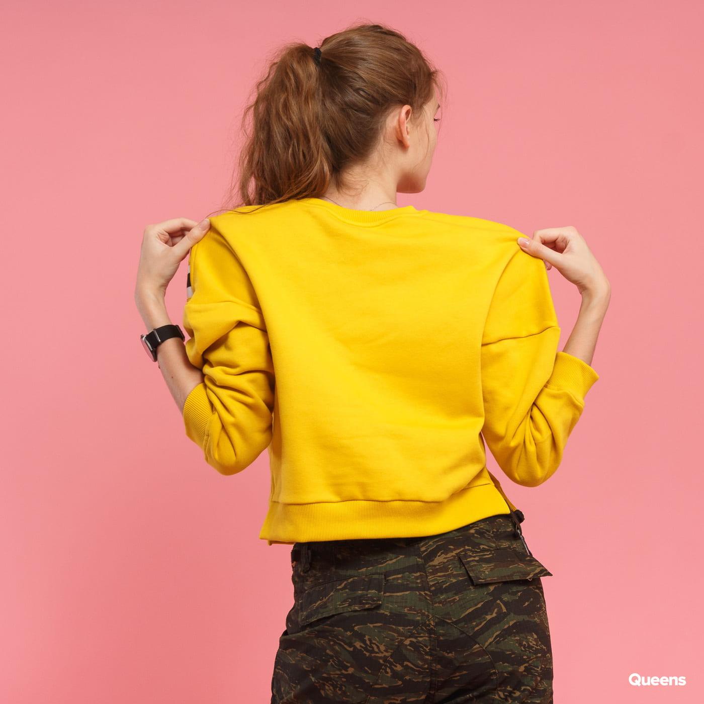 Urban Classics Ladies Insert Striped Crew gelb / weiß / schwarz
