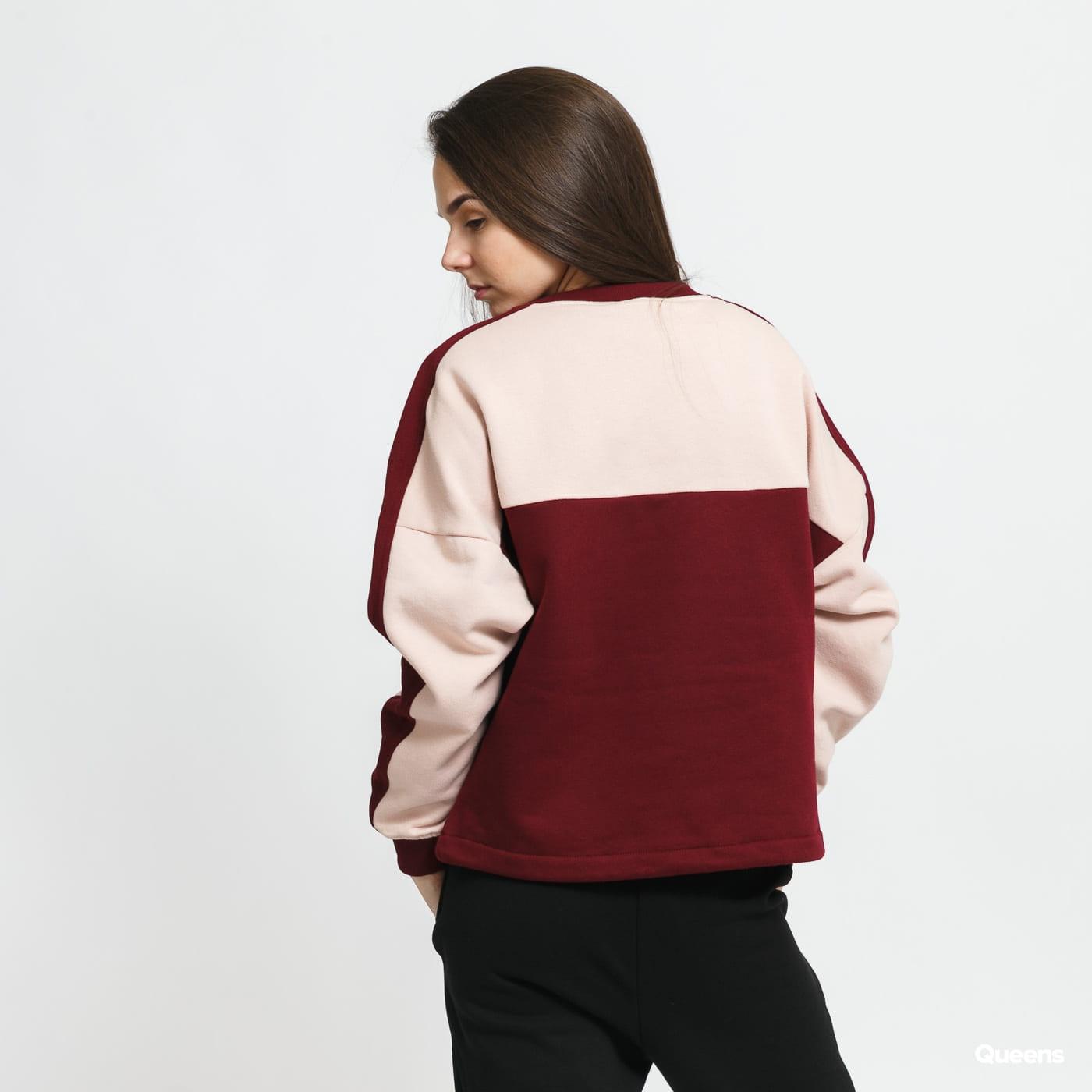 Urban Classics Ladies Oversize 2-Tone Stripe Crew weinrot / hellrosa