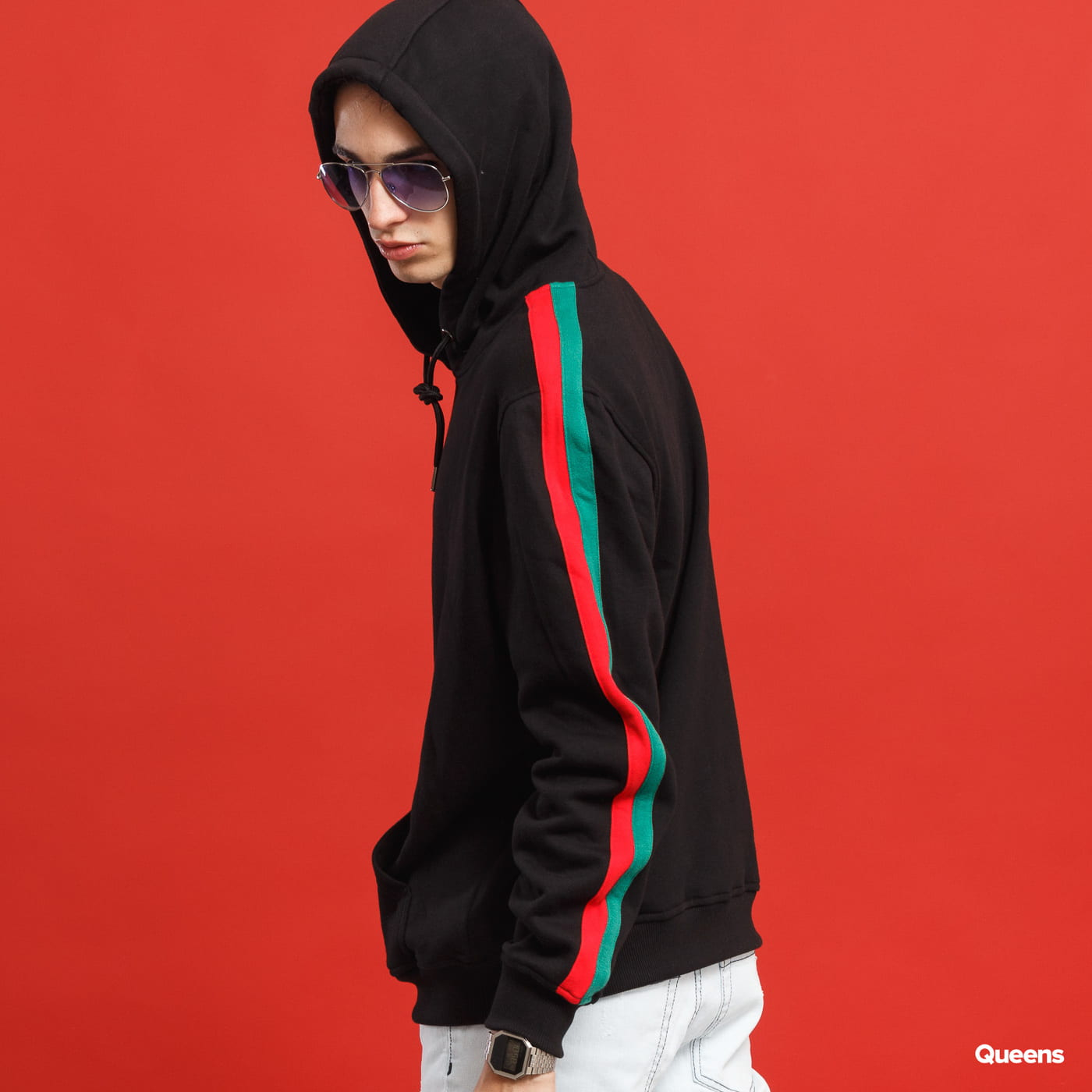 Urban Classics Stripe Shoulder Hoody black / red / green