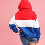 Urban Classics Ladies Oversize 3-Tone Hoody červená / bílá / tmavě modrá