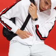 Urban Classics Stripe Shoulder Hoody bílá / černá / červená