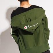 Champion Script Logo Full Zip Hoody tmavě zelená