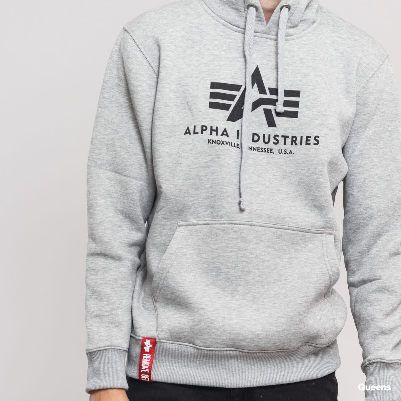 Alpha Industries Basic Hoody melange šedá