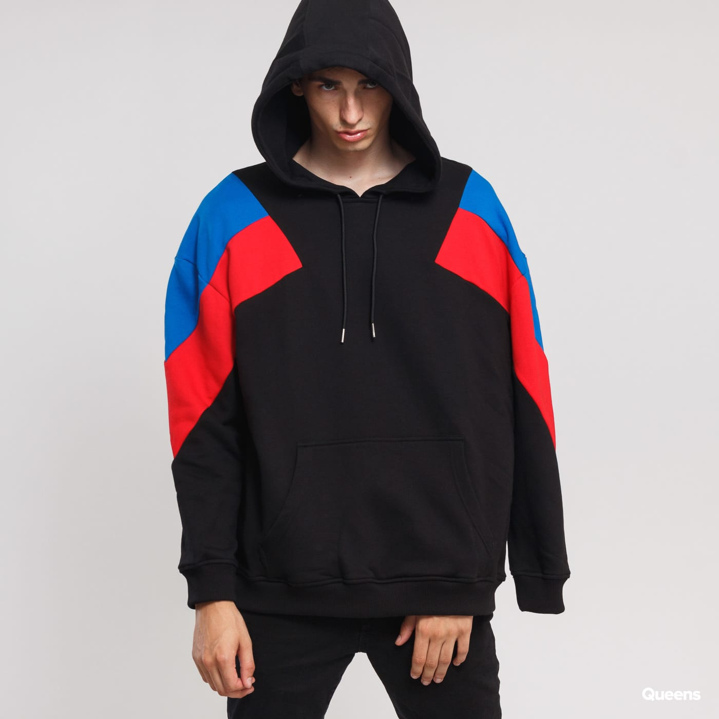 Urban Classics Oversize 3-Tone Hoody black / blue / red