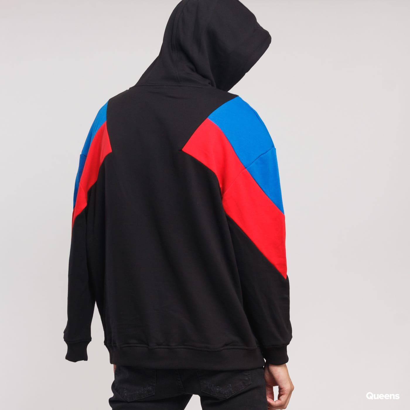 Urban Classics Oversize 3-Tone Hoody schwarz / blau / rot