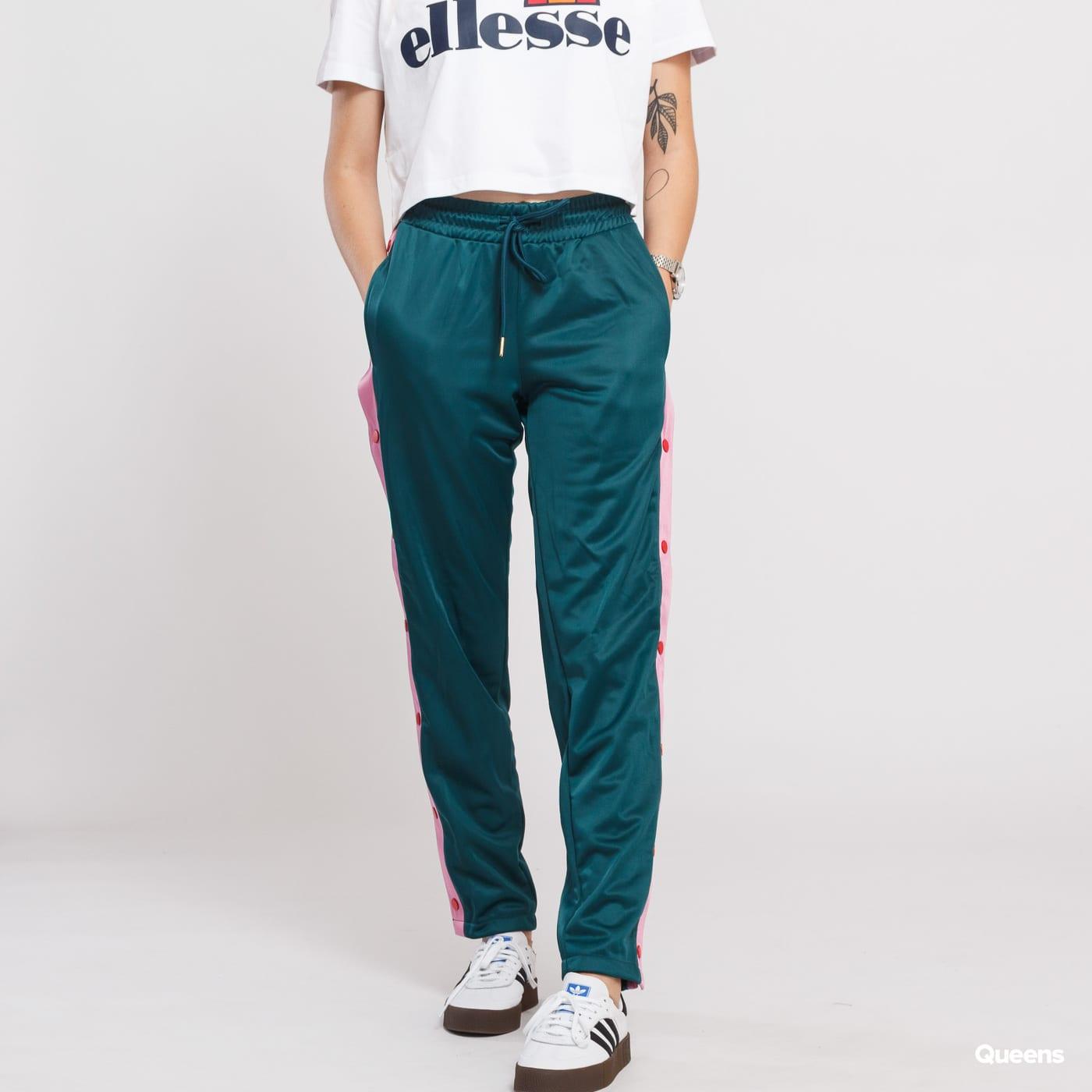 Urban Classics Ladies Button Up Track Pants dunkelgrün / pink