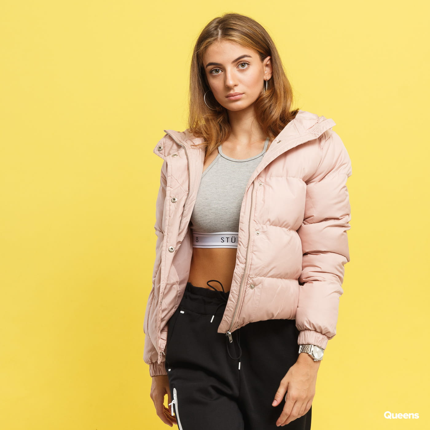 Urban Classics Ladies Hooded Puffer Jacket svetloružová