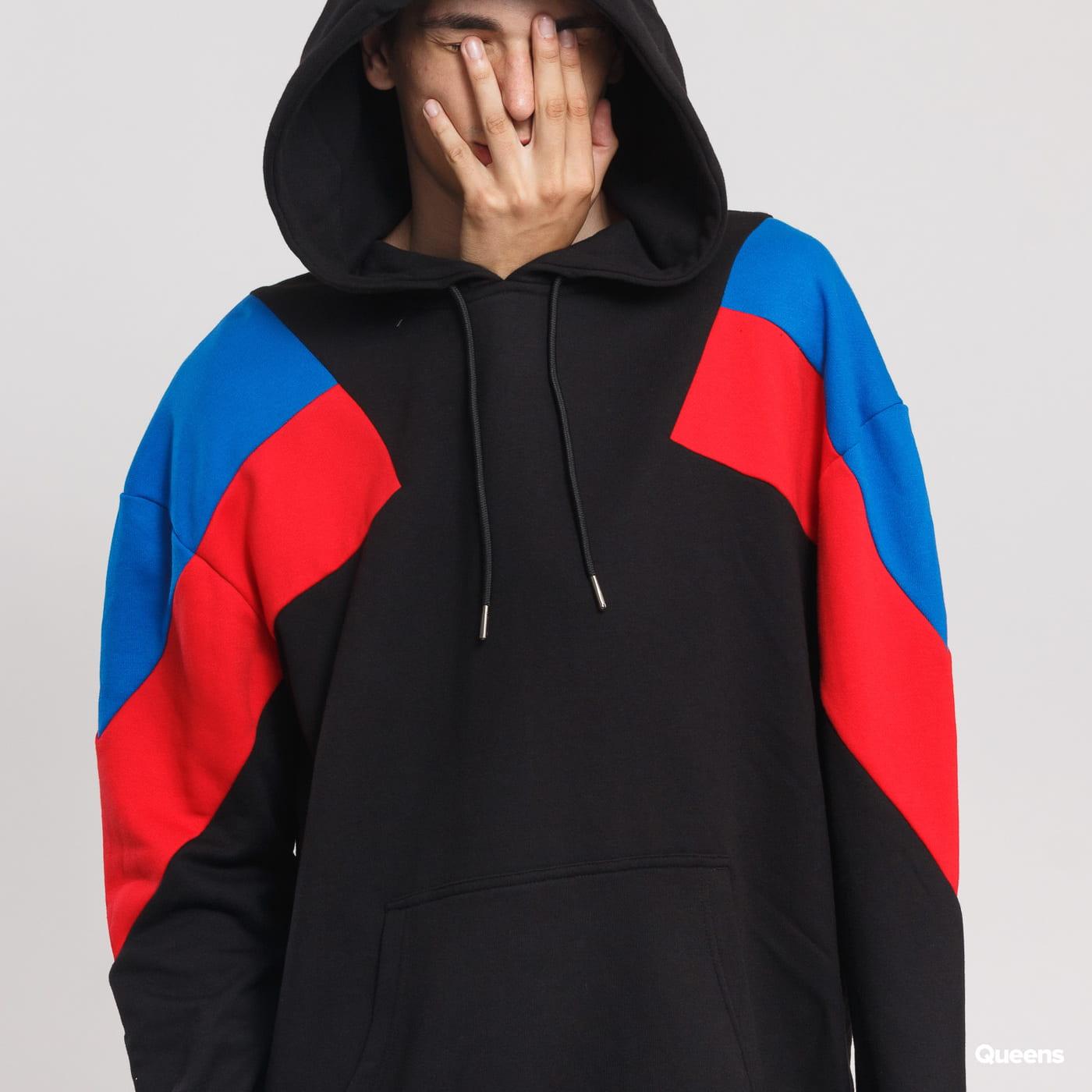 Urban Classics Oversize 3-Tone Hoody černá / modrá / červená