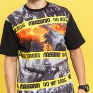 Mass DNM Do Not Cross Tee černé / šedé / oranžové / žluté