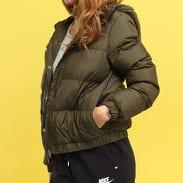 Urban Classics Ladies Hooded Puffer Jacket tmavě olivová