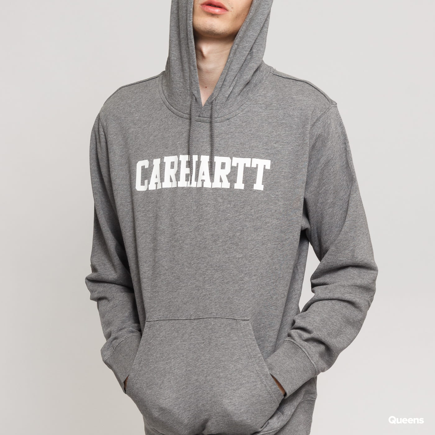 Carhartt WIP Hooded College Sweat melange tmavošedá