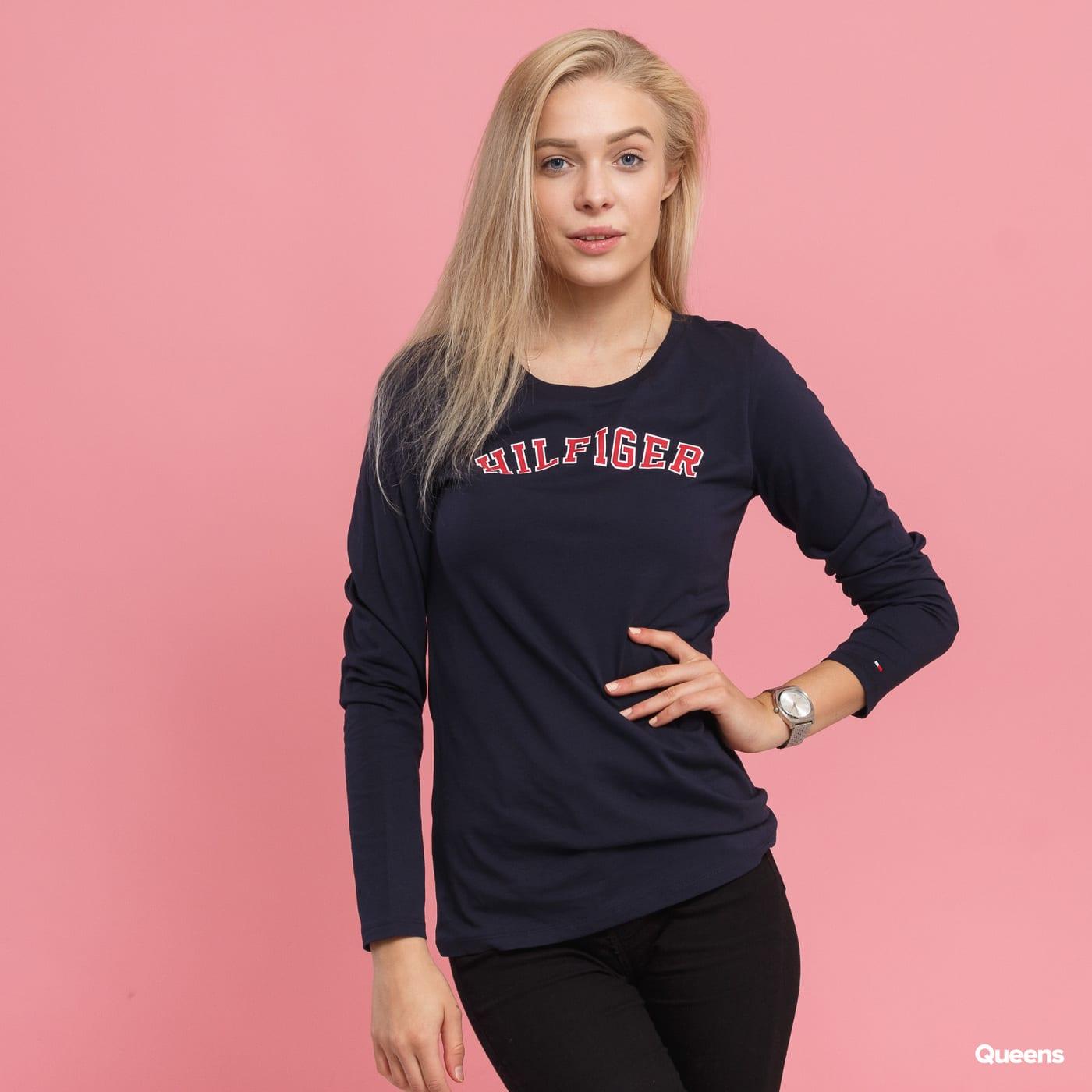 af92f6ae79 Dámske tričko s dlhým rukávom Tommy Hilfiger CN Tee LS Logo (UW0UW01413  416)– Queens 💚