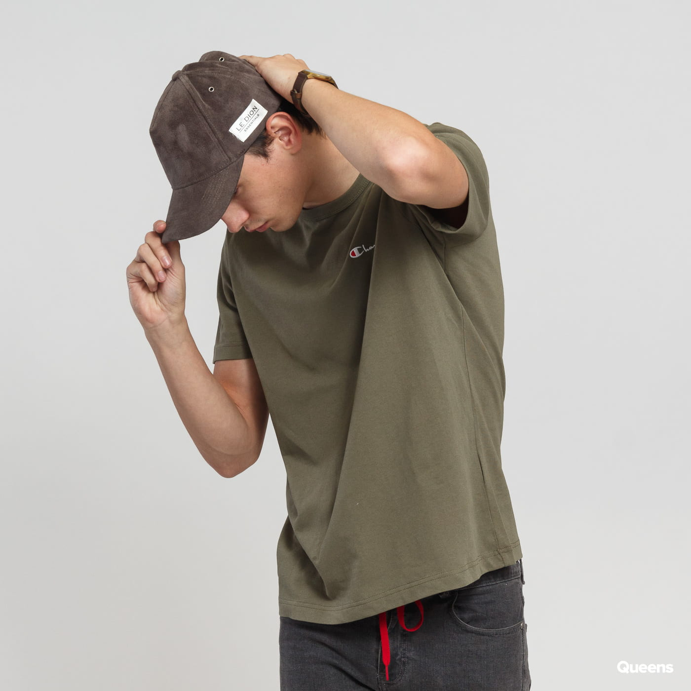 Champion Embroidered Logo Crewneck Tee olive