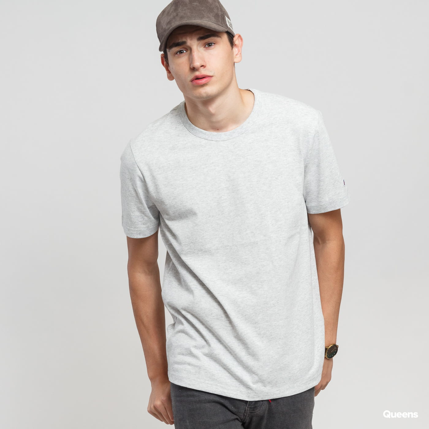 Champion Sleeve Mini Logo Crewneck Tee melange gray