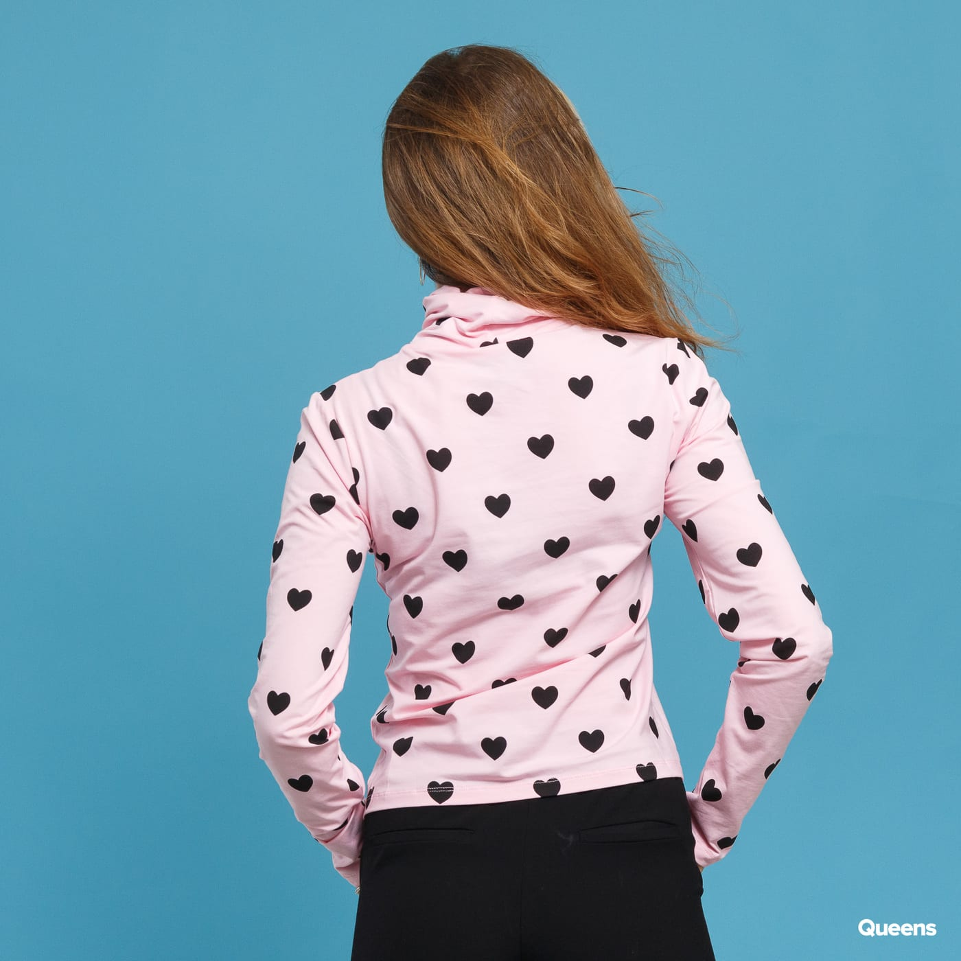 LAZY OAF Little Hearts High Neck Top pink / schwarz