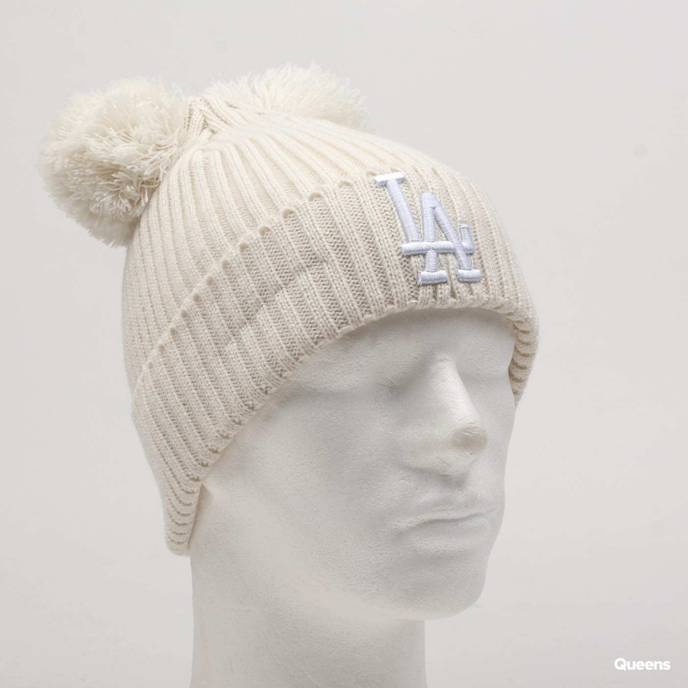 New Era Double Pom Cuff Womans LA creme