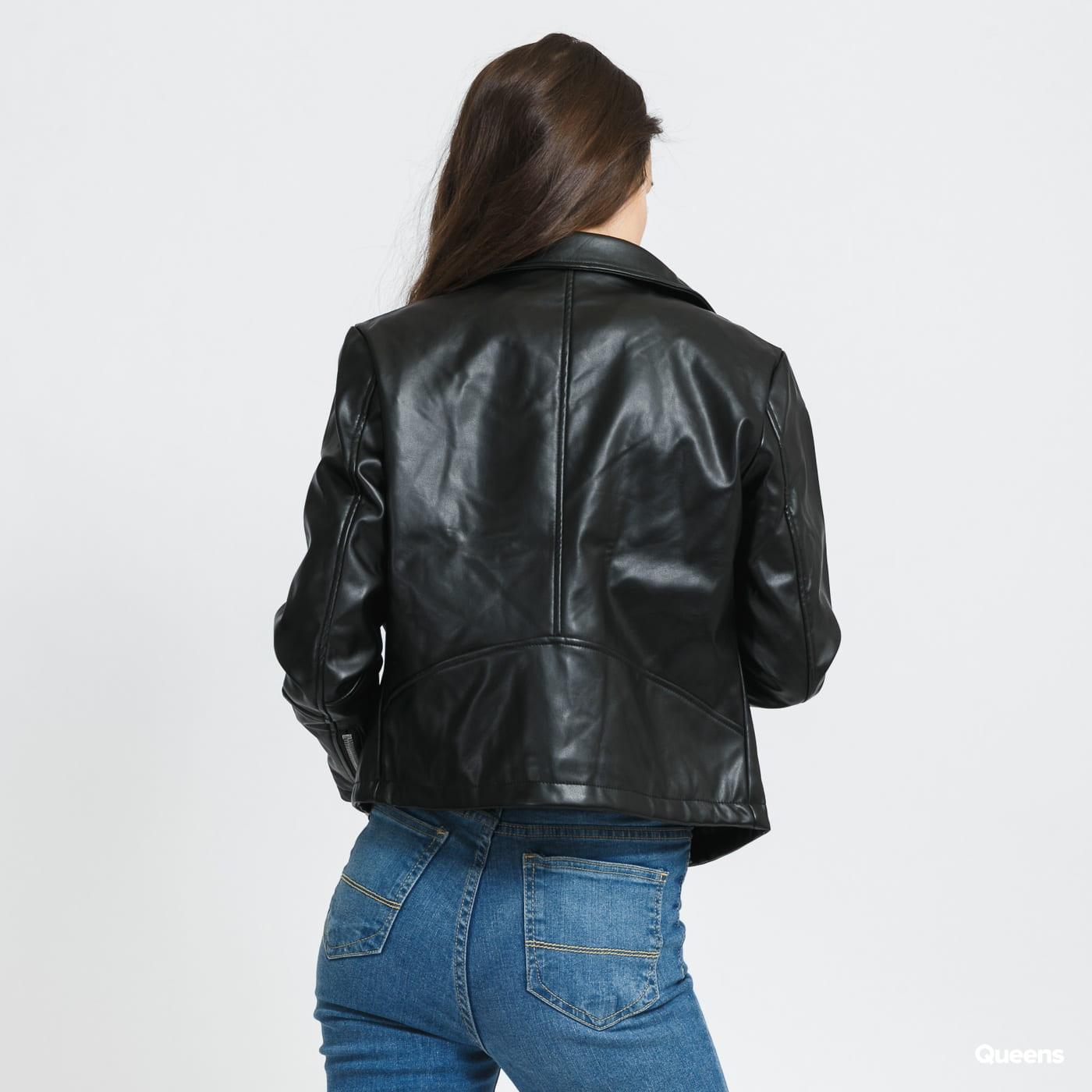 Urban Classics Ladies Faux Leather Biker Jacket schwarz