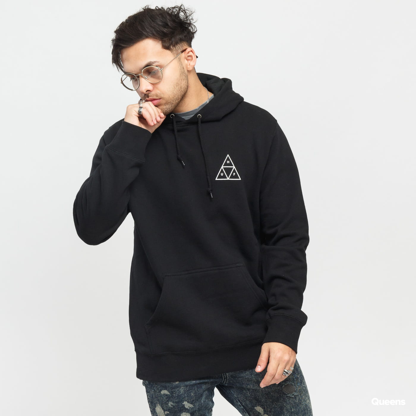 HUF Essentials Triple Triangle Hooded schwarz