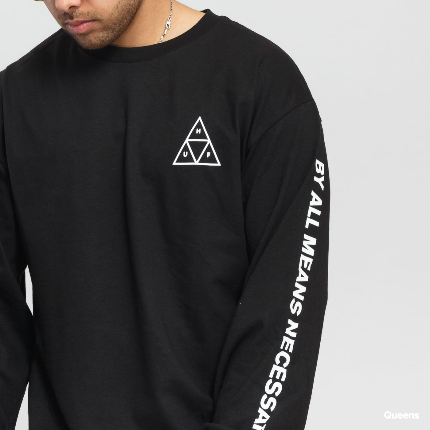 HUF Essentials Triple Triangle LS Tee black