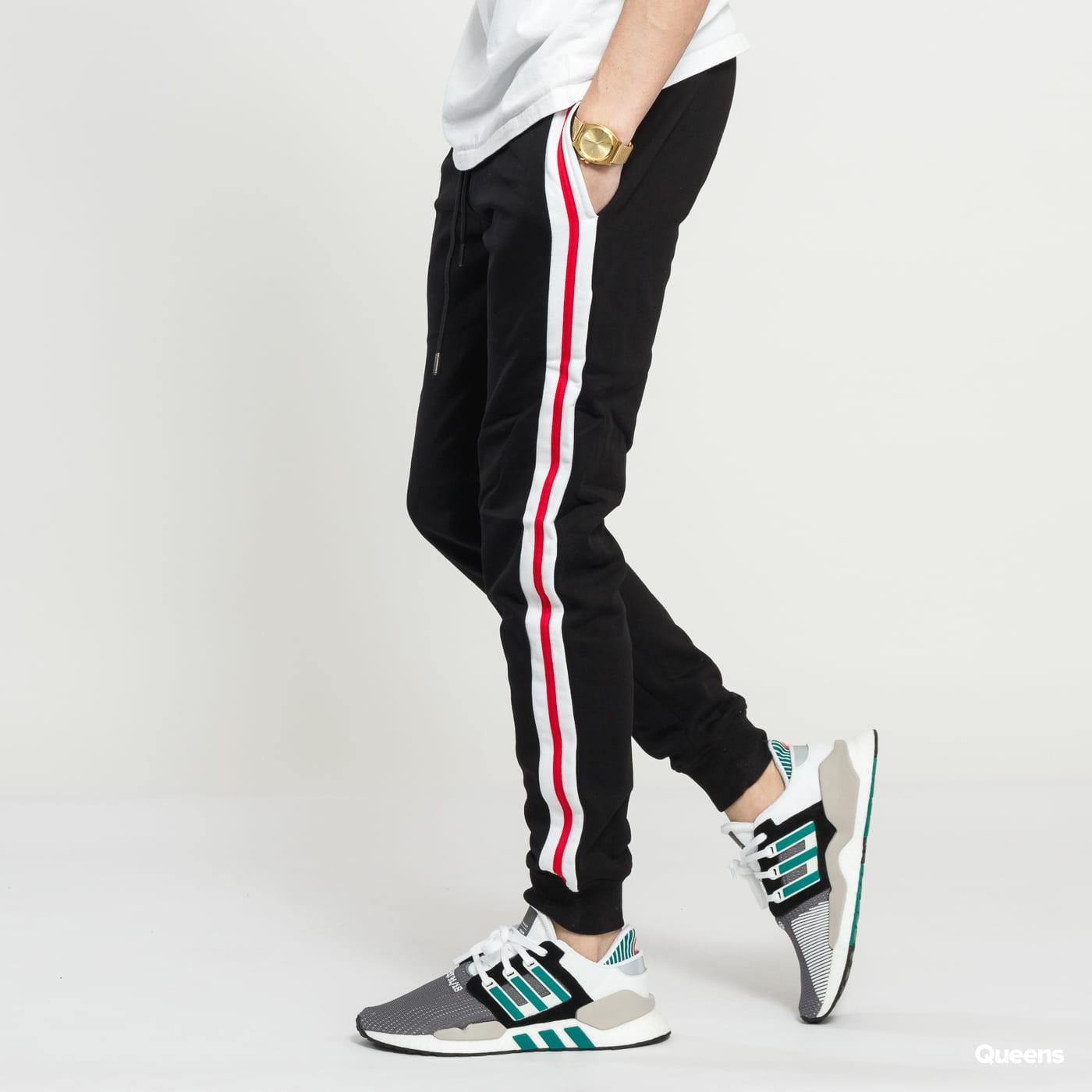 Urban Classics 3-Tone Side Stripe Terry Pants schwarz / weiß / rot