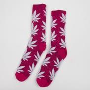 HUF Quake Plantlife Crew Socks tmavě růžové / bílé