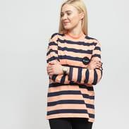 Stüssy Lucile Stripe LS Mock Neck oranžové / navy