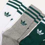 adidas Originals 3Pack Solid Crew Sock tmavě zelené / bílé / šedé