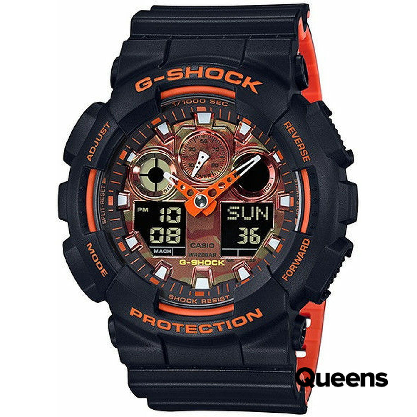 Casio G-Shock GA 100BR-1AER čierne / oranžové