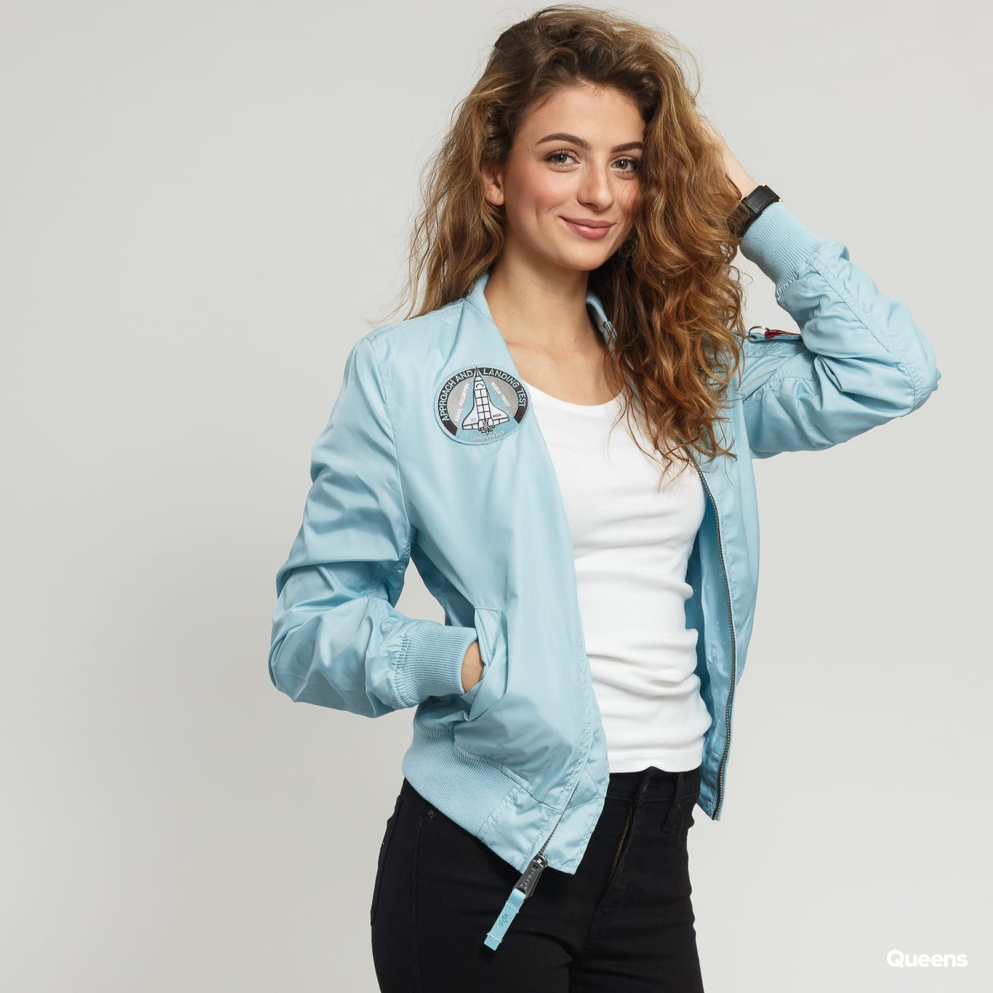 performance sportswear outlet for sale aesthetic appearance Alpha Industries MA-1 TT NASA Reversible Wmns light blue