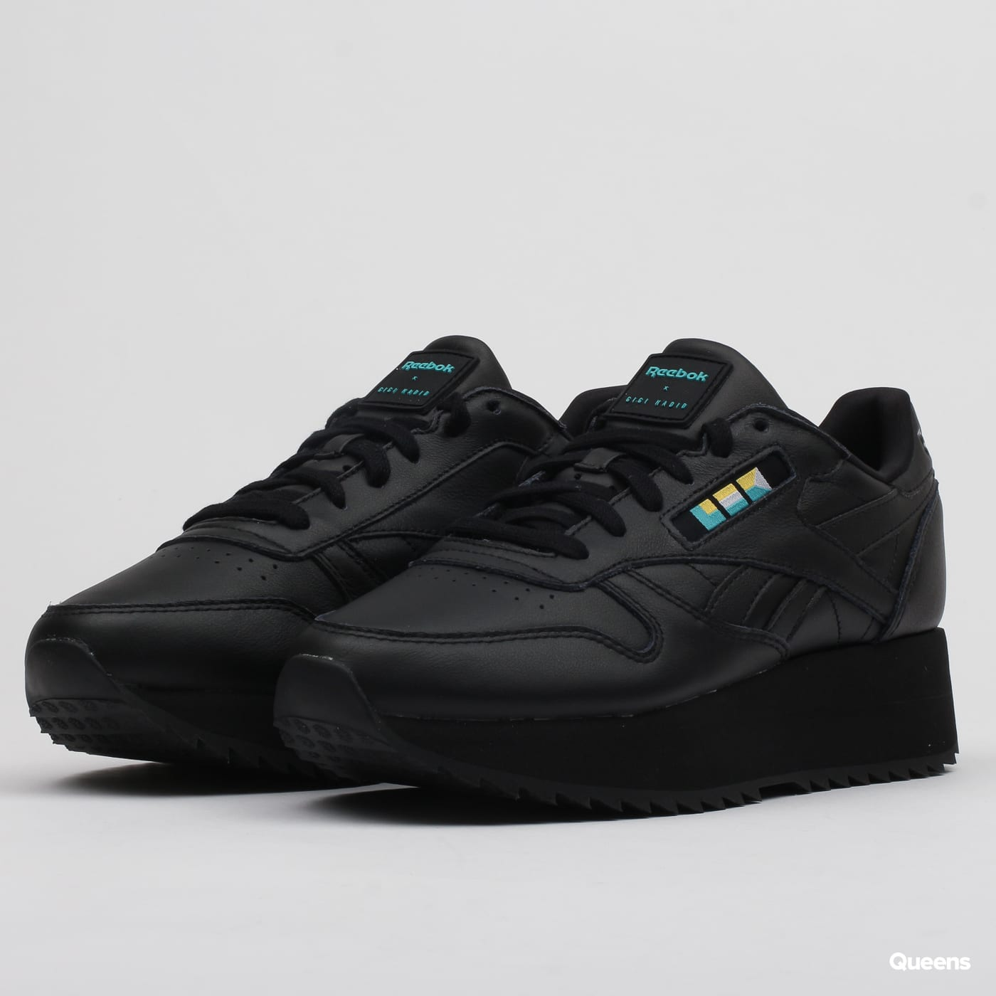 Reebok Classic Leather Double W black white blue gold