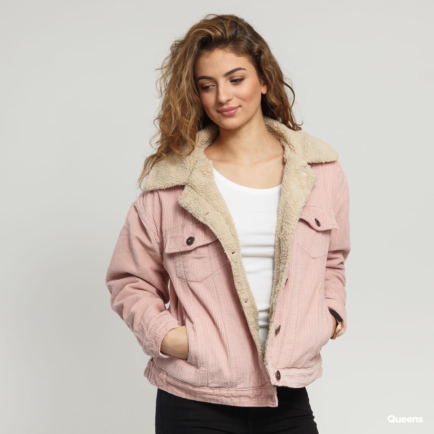 Urban Classics Ladies Oversize Sherpa Corduroy Jacket rosa